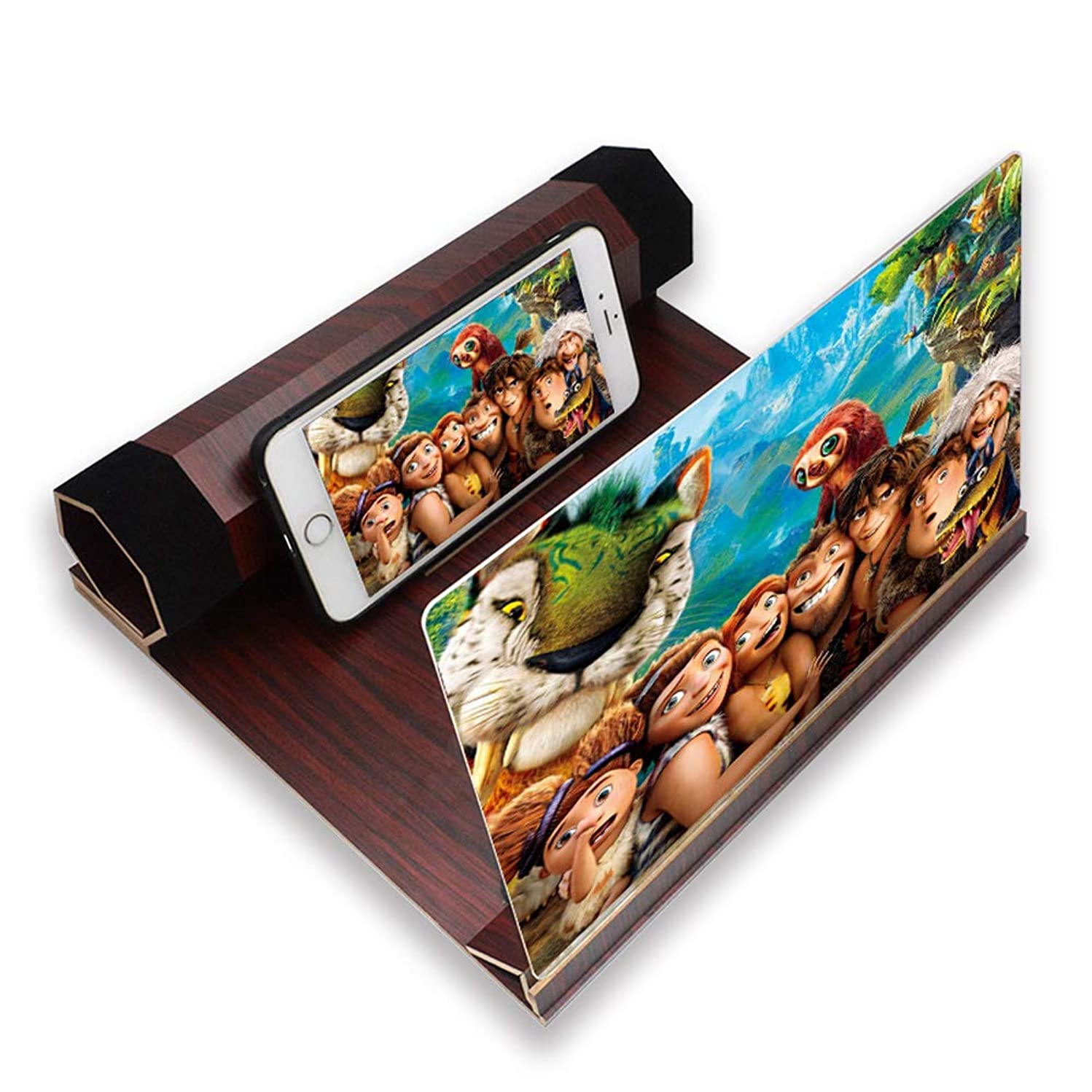 Mobile Phone Screen Amplifier, 3D Mobile Phone Magnifier, Portable Screen Amplifier, 12-Inch Hd Lens, Foldable Solid Wood Bracket Free Hands, Match All Mobile Phone Models