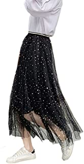Women Ladies Tutu Skirts Sequins Tulle Sparkling Stars Long Tulle Skirts High Elastic Waist Pleated Maxi Skirts A-line Swi...