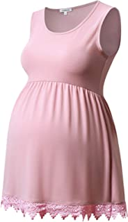 GINKANA Women's Sleeveless Maternity Tank Top Maternity Tunic Tops Sleeveless Spliced Lace Tee Shirt