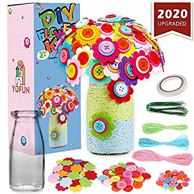 YOFUN Flower Craft Kit for Kids - Make Your Own Flower Bouquet with Buttons and Felt Flowers, Vase Art Toy & Craft Project for Children, DIY Activity Gift for Boys & Girls Age 4 5 6 7 8 9 Year Old