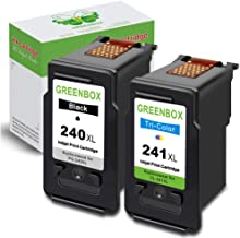 $30 » GREENBOX Remanufactured Ink Cartridge Replacement for Canon PG-240XL 240 XL CL-241XL 241 XL (1 Black 1 Tri-Color) Used in Canon PIXMA MG3620 MX472 MX452 MG3220 MX432 MX532 MG3520 MX512