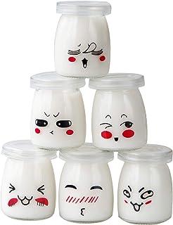 comprar comparacion JXY Tarros para Yogur o Crema Postre (Cristal con Escenario Emoticono y Tapa, Capacidad 100ml