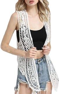 Women Lace Crochet Sleeveless Open Front Vest Cardigan White OS