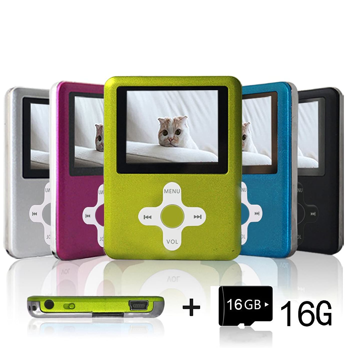 Lecmal Mp3 / Mp4 Player with 16Gb Micro SD Card and FM Radio Function, Media Player for Kids-SGreen