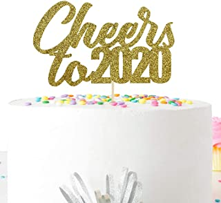 Glitter Cheers to 2020 Cake Topper, New Years Eve Party Decorations Supplies