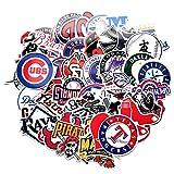 53 Pcs MLB Baseball Team Logo Stickers Pack PVC Waterproof Vinyl Skateboard Guitar Travel Case Sticker Door Laptop Luggage Car Bike Bicycle Cartoon Graffiti Stickers