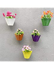 Techhark® Pack of 12pcs Wall Hanging Planter Pot for Indoor Plants Pot, Railing Flower Pot and Balcony Railing Vertical Hook for Home Gardening (Pack of 12)