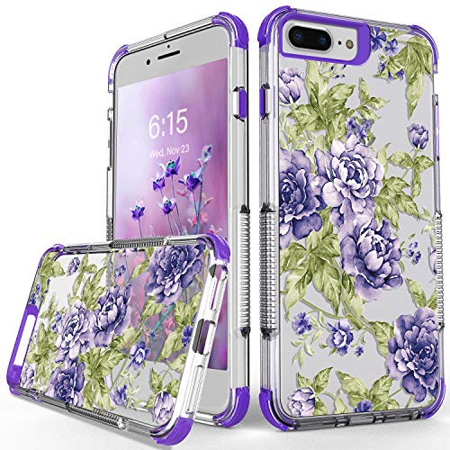 Fit for iPhone 6 Plus Case, iPhone 7 Plus Case, iPhone 8 Plus Case,Super Soft TPU Material, Vintage Purple Flower Design, Four Corners Anti-Drop and Hand Grip Non-Slip Protective Case(Purple)