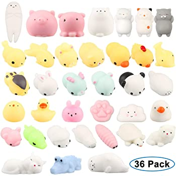 Adkwse Squishy Kawaii Set, 36 Stück Soft Silikon Spielzeug Mochi Mini Squishies Mesh Ball Anti Stress Spielzeug für Kinder