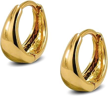 d9393f8b465c42 Blue Diamond Club - Tiny 9ct Yellow Gold Filled Womens Stud Earrings Girls  Round 4mm White... Tapered Hoop Earrings Womens 9ct Gold Filled Very Small  Huggie ...