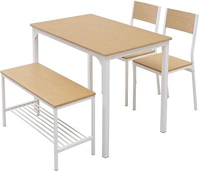 モダンデコ ダイニングテーブルセット ダイニングセット 4点セット 4人用 テーブル 幅110㎝ チェア×2脚 ベンチ セット 北欧 おしゃれ (ナチュラル)