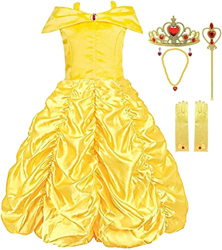 Padete Little Girls Princess Yellow Party Costume Off Shoulder Dress with Accessories