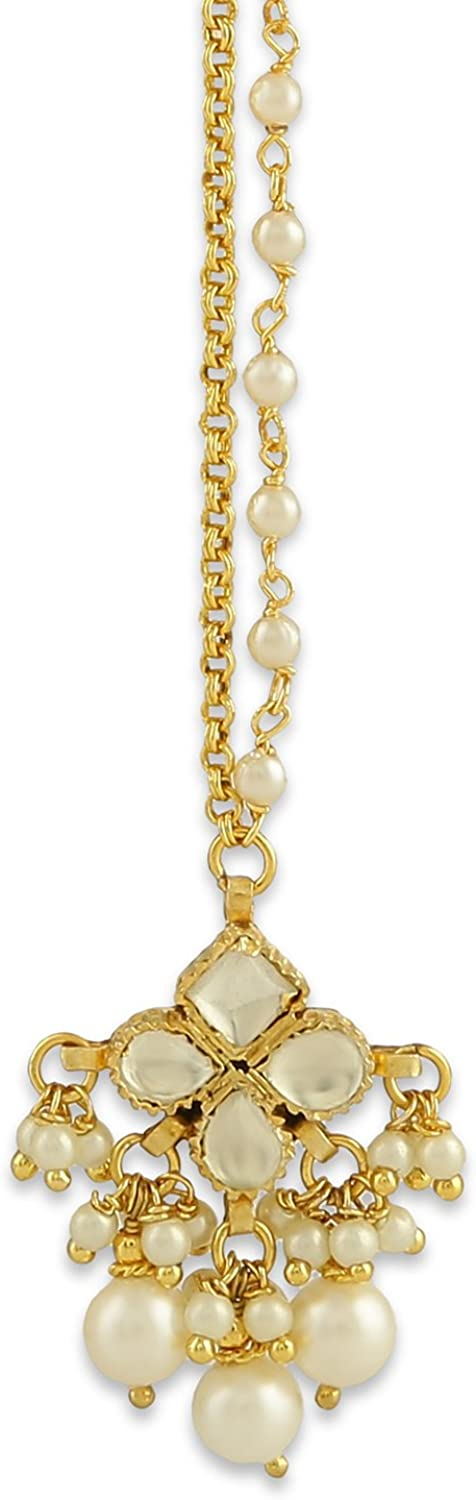 Accessher Gold Plated Magnificent Traditional White Pearls for Womens