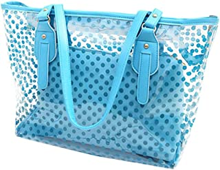 L-COOL PVC Large Candy Color Clear Shoulder Bag 2 IN 1 Beach Totes Transparent Handbags With Interior Pocket For Women