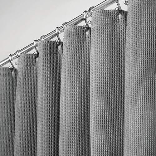 mDesign Duschvorhang aus 100prozent Baumwolle – schöne, strukturierte Duschgardine – leicht zu pflegener Badewannenvorhang – grau