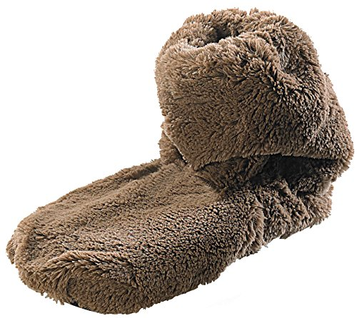 infactory Socken Mikrowelle: Aufwärmbare Flausch-Stiefel mit Leinsamen-Füllung, Größe 42-44 (Mikrowellen Hausschuhe)