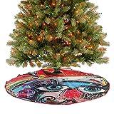 Alfombrilla para árbol de Navidad con diseño de grafitti, pintura colorida, con cara humana, perro, ...