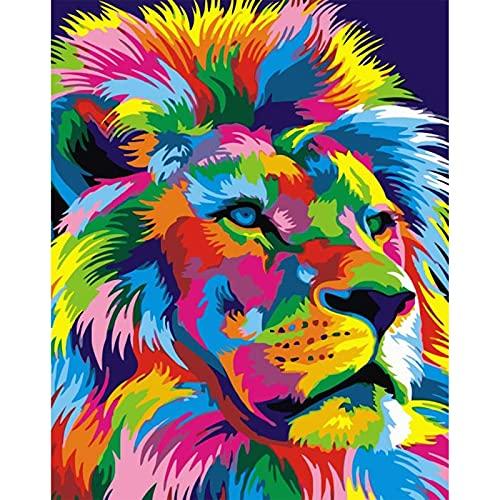 NANONAN Dipingere con i Numeri Kit per Adulti e Bambini Principiante Colori Acrilici Tela Pittura a olio Fai Da Te Leone Colorato 40 x 50 cm Senza Telaio