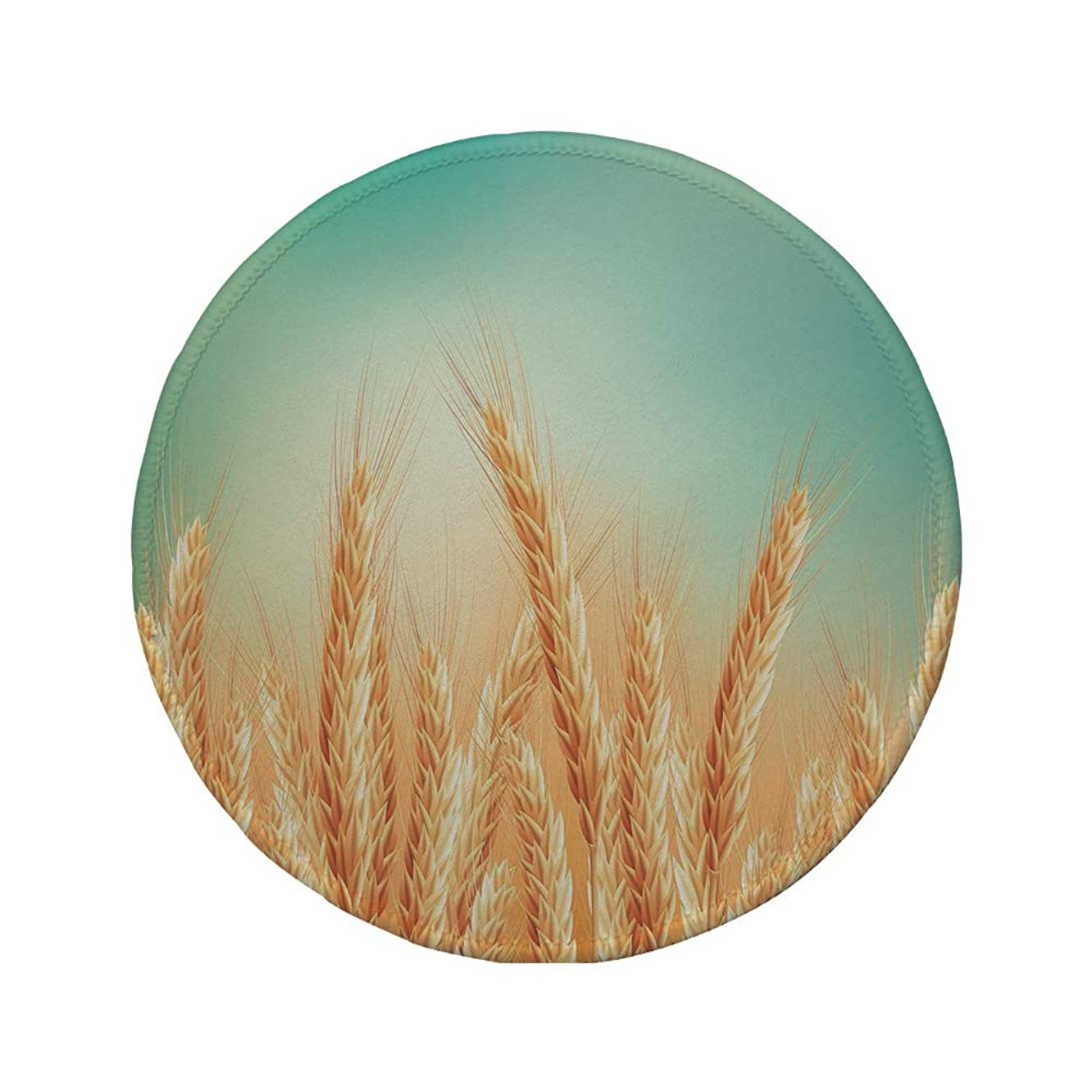 Non-Slip Rubber Round Mouse Pad,Harvest,Wheat Field and Blue Sky Agriculture Themed Abstract Composition,Yellow Orange Mint Green,11.8