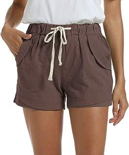 NEWFANGLE Women's Cotton Linen Causal Shorts Comfy Beach Short Drawstring Elastic Waist Short