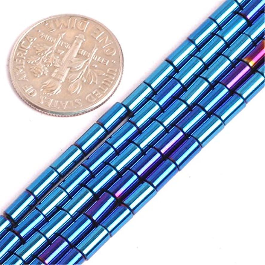 Hematite Beads for Jewelry Making Gemstone Semi Precious 3x5mm Tube Column Blue Metallic Coated 15
