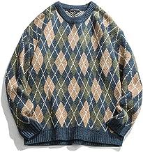 XIELH Street Contrast Kleur Plaid Casual Sweater Mannen en Vrouwen Ronde Hals Trui Jas