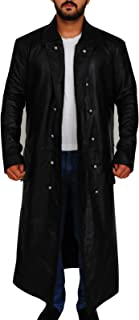 New Men's German Classic WW2 Military Officer Black Leather Long Overcoat