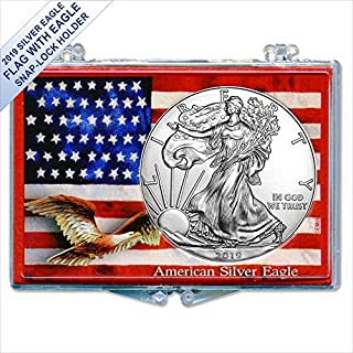 2019 American Silver Eagle in (Flag With Eagle Snap-Lock Gift Holder) $1 US Mint Brilliant Uncirculated