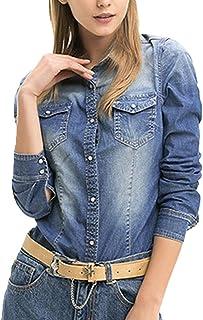 [美しいです] シャツ レディース コットン 無地 デニムジャケット ゆったり 柔らかい