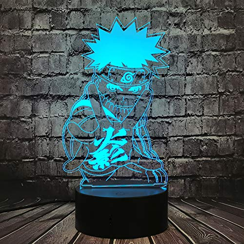 Naruto Sasuke Lampe Japan Anime Action Bros Shikamaru Cartoon 3D Optische Täuschung LED Acryl Uzumaki Naruto 7 Farbe USB Wechsel für Jungen Zimmer Dekor Stimmung Nachtlicht Freunde Spielzeug