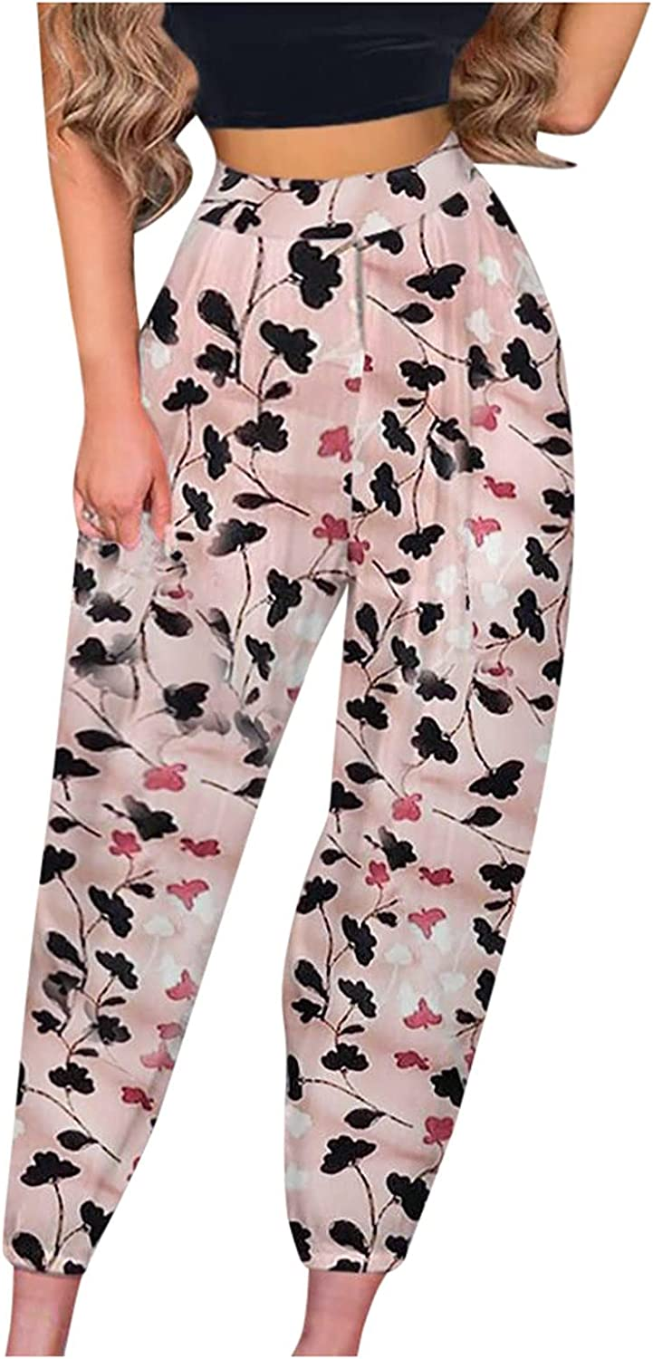 Women's Stretchy Palazzo Lounge Pants Casual Floral Print Belted Summer Beach Womens Casual High Waist Pencil Pants