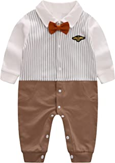 D.B.PRINCE Newborn Infant Baby Boys Long Sleeves Gentleman Cotton Rompers Clothes Small Suit Bodysuit Outfit with Bow Tie