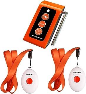 SINGCALL 介護呼び鈴 ワイヤレスチャイム 呼び出しベル介護用 介護用緊急連絡ベル 高齢者 患者 妊婦 障碍者向 1受信機と2発信機 2 SOS コール ボタン 送信機