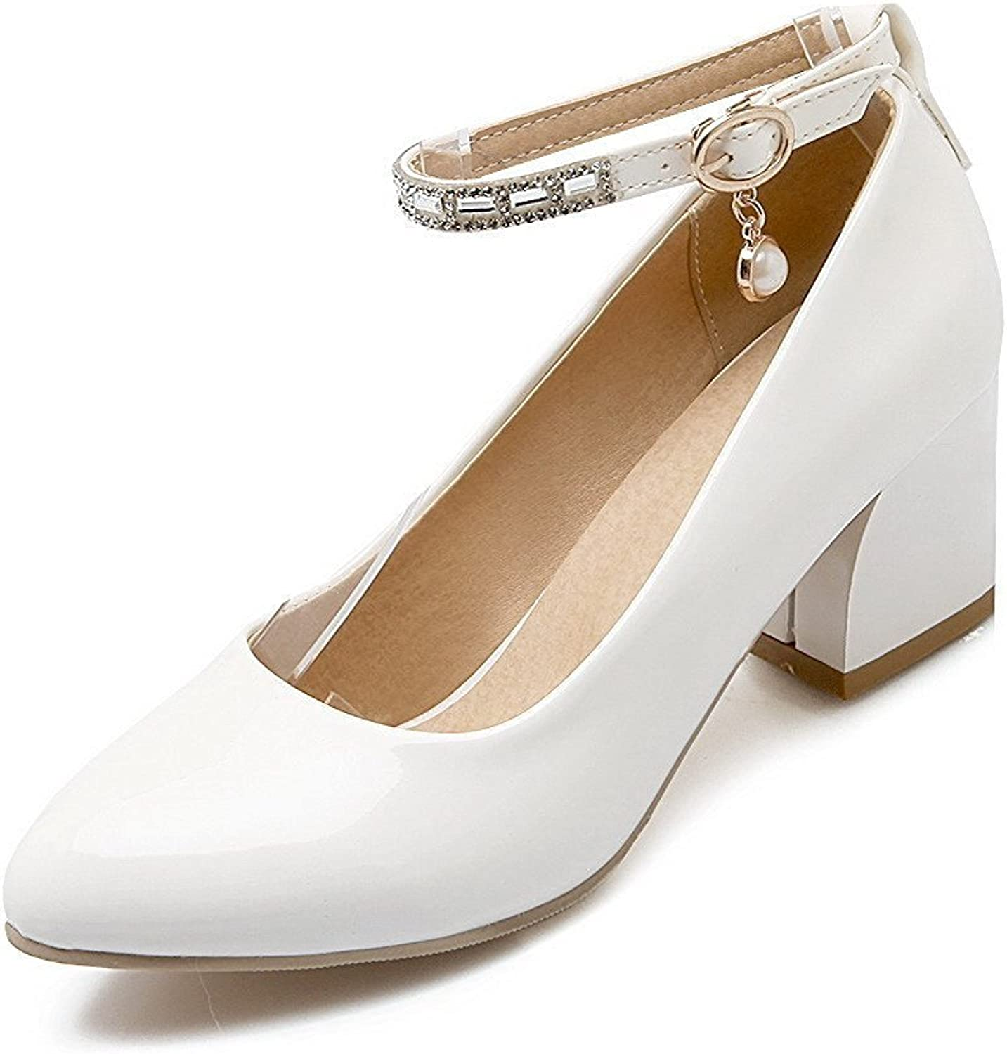 Laolaooo shoes Women's Patent Leather Pointed Closed Toe Low-Heels Buckle Solid Pumps-shoes