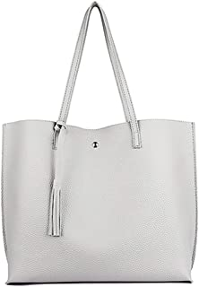 Threete Brand New Women's Big Capacity Tote Shoulder Bag, Soft Leather Tassel Handbag