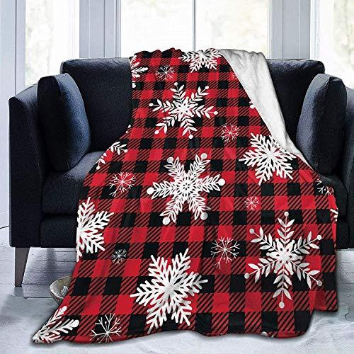 Navidad Navidad Copo de Nieve Buffalo Check Rojo Blanco y Negro Franela Mullida Manta de Tiro de Lana Completa Edredón tamaño Queen King Felpa Suave y Acogedor Edredón Ropa de Cama de guardería Decor