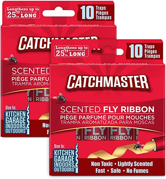 Catchmaster Sticky Fly Trap Ribbon Indoor Outdoor Fly Catcher Pack Of 20