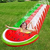 TURNMEON 16 Ft Watermelon Slip Slide Lawn Water Slides with Sprinkler Inflatable Crash Splash Pad Outdoor Water Toys for Kids Toddlers Children Backyard Summer Beach Swimming Pool Games Party Toys
