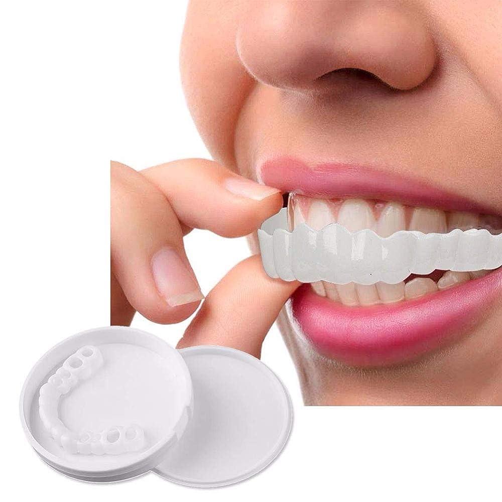 リーガンパック誇張10ピースホワイトニングスナップオンスマイルパーフェクトスマイルフィット最も快適な義歯ケア入れ歯歯科カバーでボックス,Upperteeth10Pcs