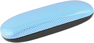 uxcell Silver Tone Light Blue Square Pattern Faux Leather Eyeglasses Case Box