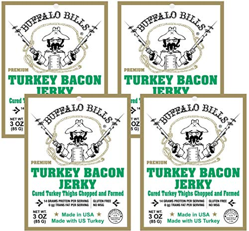 Buffalo Bills 3oz Premium Turkey Bacon Jerky 4-Pack (real wood smoked - gluten free and no MSG)