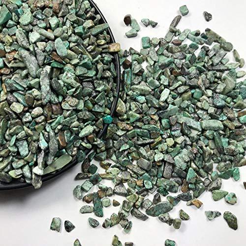 MCWJ Venta al por Mayor de Piedra Turquesa de África curativa Cristal Verde Grava Cuarzo Paisaje Mineral pecera Maceta jardín Adorno para el hogar-5-8 mm 50 g