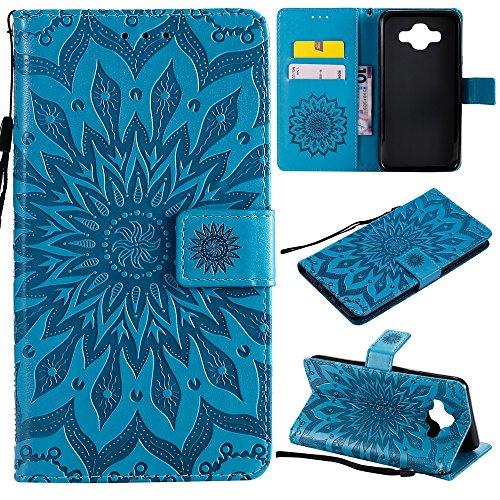 Aralinda Funda protectora de piel sintética con diseño de girasol, con ranura para tarjetas, compatible con Samsung Galaxy J7 Duo. (color: azul)