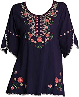Womens Girls Embroidered Peasant Tops Mexican Bohemian Blouses