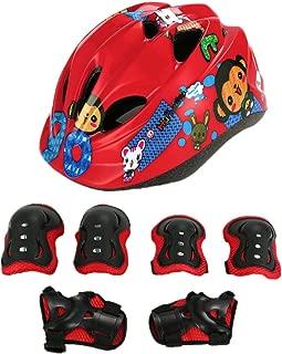 UNISTRENGH Adjustable Children's Bike Helmet Ultralight Comfortable Kids Helmets with Protective Gear Set Knee/Elbow/Wrist Pads