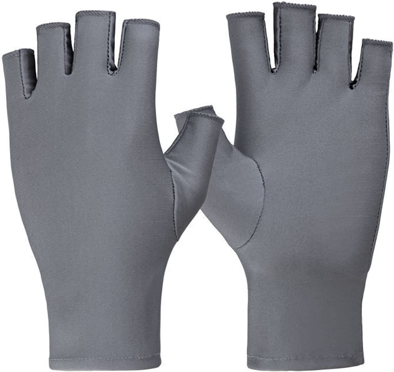 LANREN Women Gloves Summer Breathable Thin Semi-Finger Driving Glove Solid Sunscreen Anti-Uv Fingerless Glove (Color : 5)
