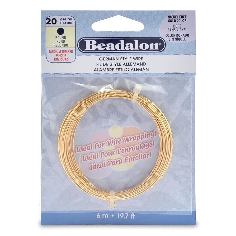 Beadalon German Style 20 Gauge Round Gold Color Wire, 6-Meters