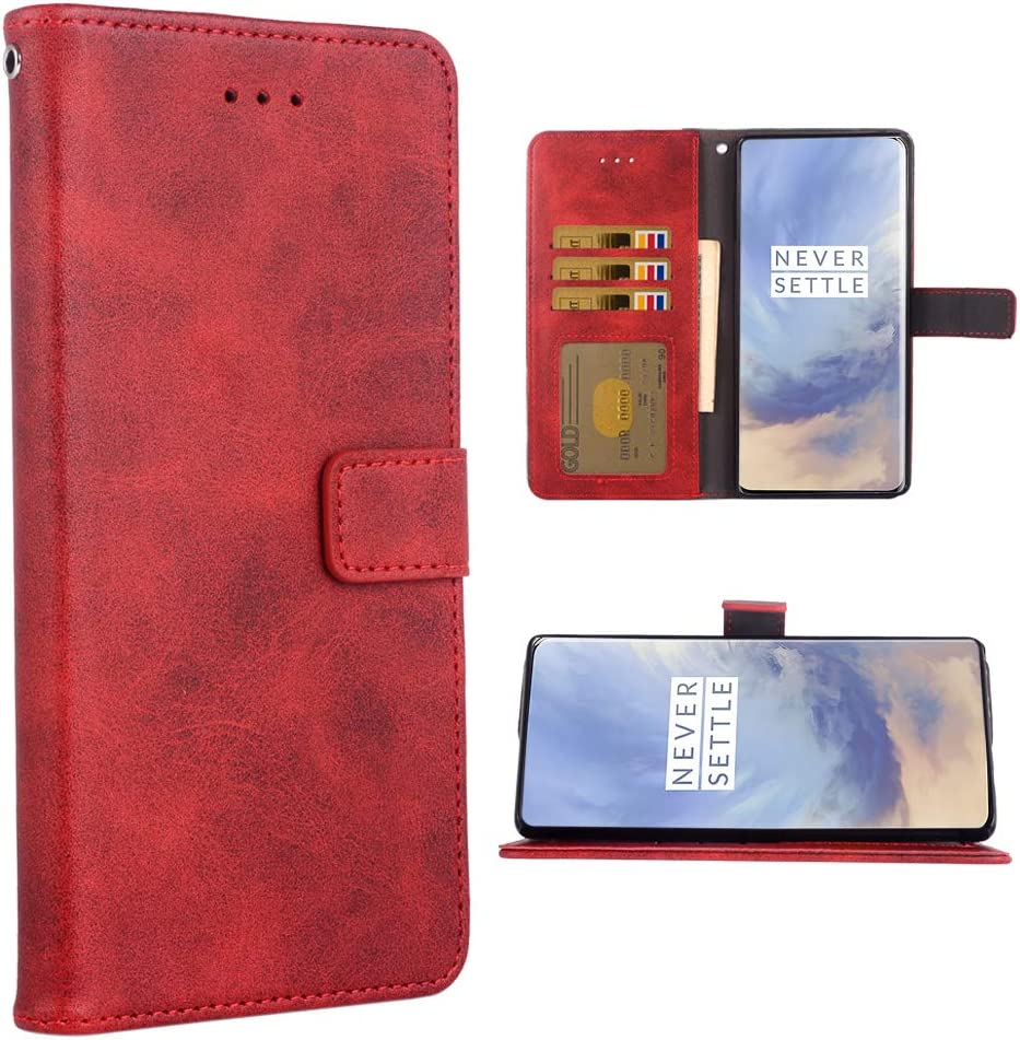 Phone Case for Oneplus 7 Pro Folio Flip Wallet Case,PU Leather Credit Card Holder Slots Full Body Protection Kickstand Phone Cover for Oneplus7Pro 5G One Plus 1+7 1Plus Oneplus7 7Pro Seven Red