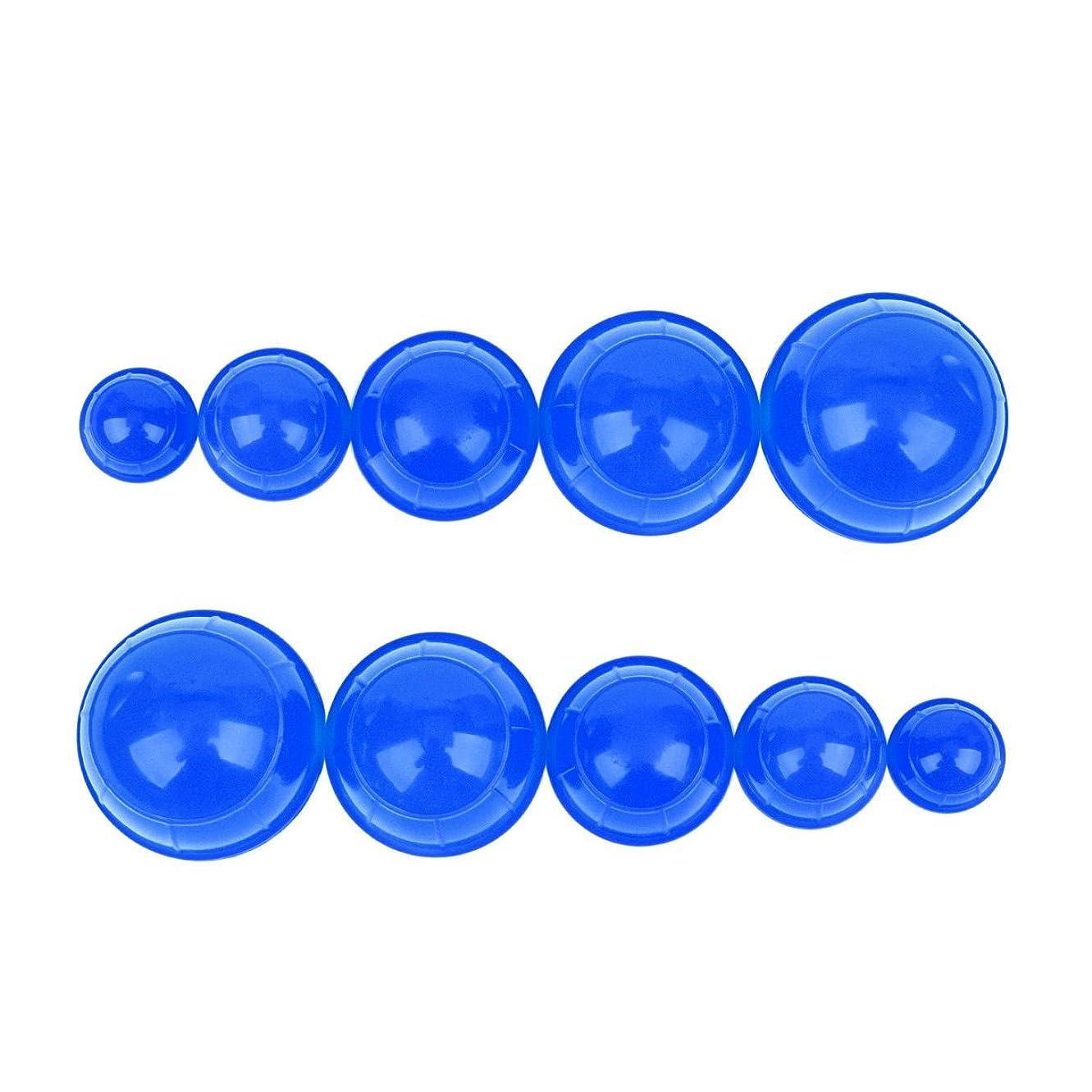 幸運なことにオプショナル無臭シリコンカッピング 12個セット 吸い玉 水洗い可能 全身マッサージ CkeyiN (ブルー)