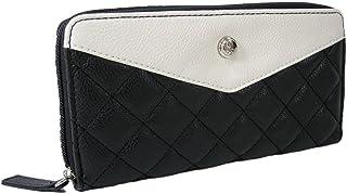 New Nine West Logo Zip Around Wallet Purse Hand Bag Black Chalk Quilted Marren